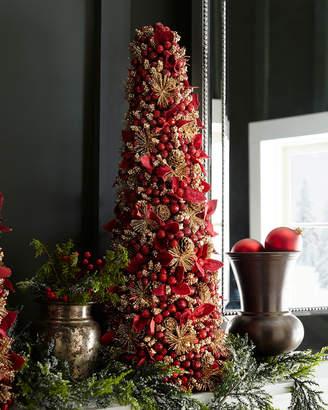 "Salzburg Creations Burgundy and Rose Gold Fireworks Tabletop Christmas Tree - 24"""