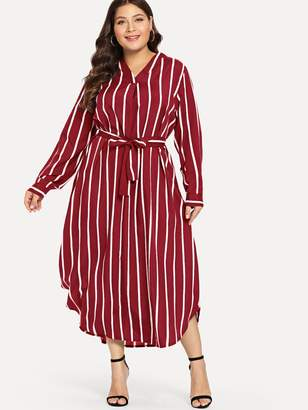 Shein Plus Self Tie Striped Shirt Dress