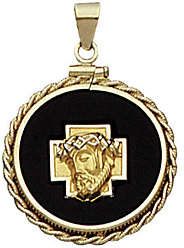 QVC 14K Yellow Gold Christ Head Charm on Black Onyx