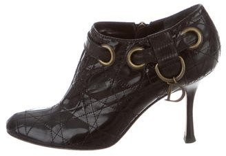 Christian Dior Cannage Round-Toe Booties