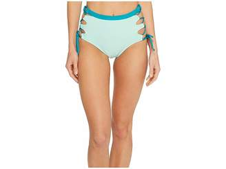 Splendid Color Block High-Waist Bikini Bottom Women's Swimwear