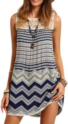 Mupoduvos Women Summer Sleeveless Round Neck Stripes Geometric Wavy Grain Tunic Dress S