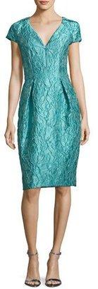 Carmen Marc Valvo Cap-Sleeve Jacquard Cocktail Dress, Jade $595 thestylecure.com