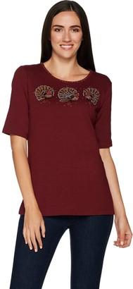 Factory Quacker FestiFall Triple Sparkle Elbow Sleeve Knit T-Shirt
