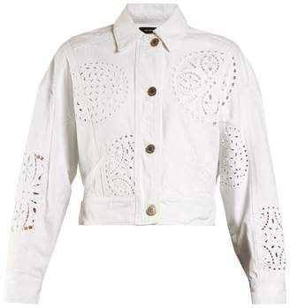 Isabel Marant Rena Broderie Anglaise Denim Jacket - Womens - White