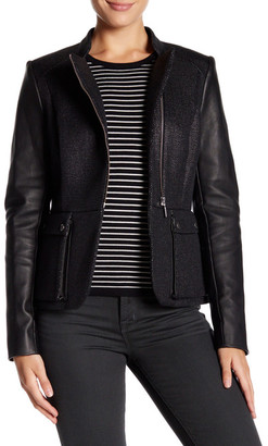 Barbour Long Leather Sleeve Jacket $729 thestylecure.com
