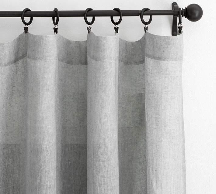 Belgian Flax Linen Sheer Drape - Gray