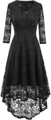 NALATI Women Vintage 3/4 Sleeve Deep V Neck High Waist High-low Hem Lace Cocktail Party Dress (, S)