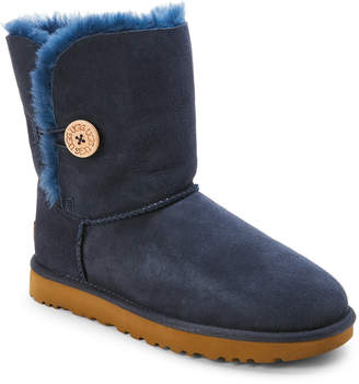 UGG Navy Bailey Button II Real Fur Boots