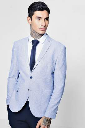 boohoo Pale Blue Cotton Skinny Fit Summer Blazer