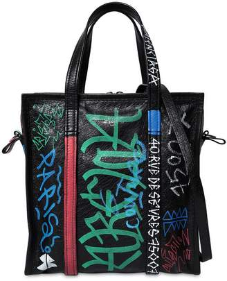 Balenciaga S Bazar Graffiti Leather Tote Bag