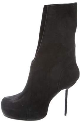 Rick Owens Structured Suede Ankle Boots Black Structured Suede Ankle Boots