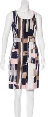 Oscar de la Renta Abstract Print Sheath Dress
