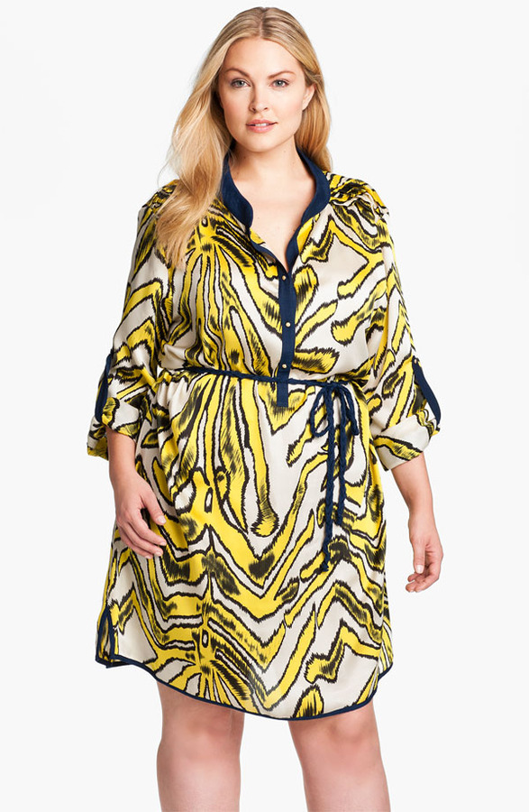 T-Bags Tbags Los Angeles Roll Sleeve Tunic Dress (Plus)