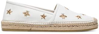 Gucci White Pilar Bee Embroidery leather Espadrilles