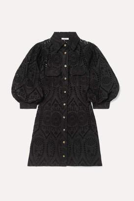8a3036dc Ganni Broderie Anglaise Cotton Mini Dress - Black