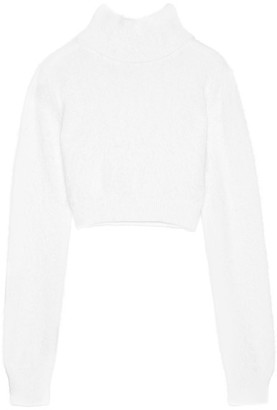 Balmain - Cropped Angora-blend Turtleneck Sweater - Ivory $985 thestylecure.com