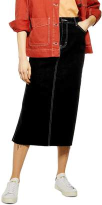 Topshop Split Side Denim Midi Skirt