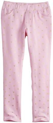 Girls 4-10 Jumping Beans Printed French Terry Jeggings