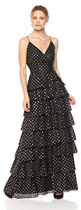 ML Monique Lhuillier Women's Metallic Dot Gown, Black/Gold 4