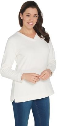 Denim & Co. Petite Chenille Fleece V-Neck Long-Sleeve Tunic