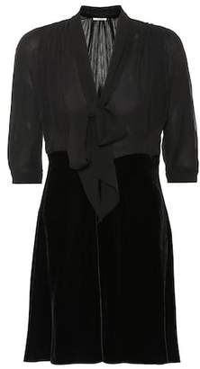 Miu Miu Silk and velvet minidress
