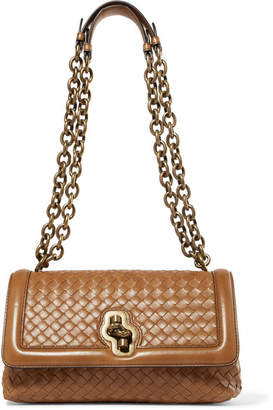 Bottega Veneta Olimpia Knot Intrecciato Leather Shoulder Bag - Camel
