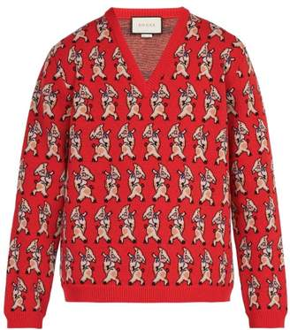 Gucci Pig Instarsia V Neck Wool Sweater - Mens - Red