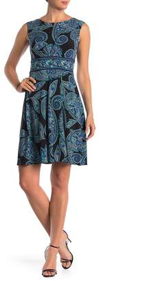 London Times Cap Sleeve A-Line Dress