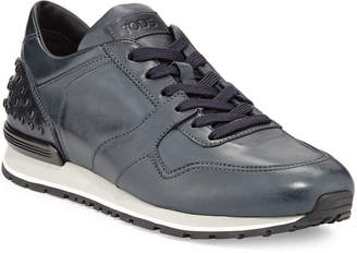 Tod's Men's Burnished Leather Trainer Sneakers, Navy
