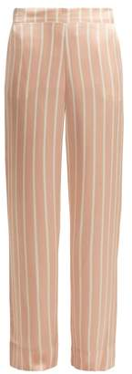 Asceno - Striped Sandwashed Silk Pyjama Trousers - Womens - Pink Stripe