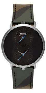 Uri Minkoff Griffith Grey Ion Plated Tone Camo Strap Watch, 43MM