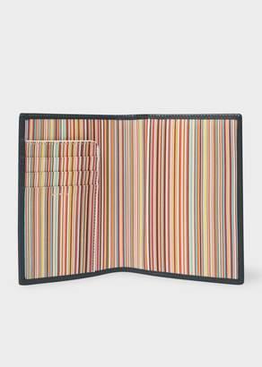 Paul Smith Black Leather Signature Stripe Interior Passport Cover