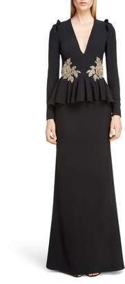 Alexander McQueen Embellished Peplum Waist Gown