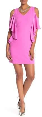 Trina Turk Lambada Cold Shoulder Ruffle Sheath Dress