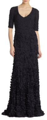 Theia Petal Elbow-Sleeve Gown $1,295 thestylecure.com