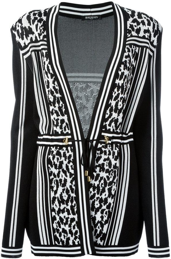 BalmainBalmain striped leopard belted cardigan