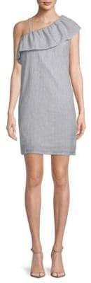 Pinstripe One-Shoulder Dress