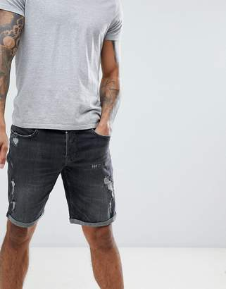 AllSaints Skinny Fit Denim Shorts With Distress In Washed Black