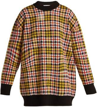 Msgm - Checked Wool Blend Sweater - Womens - Yellow Multi