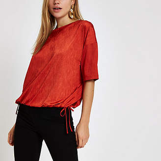 River Island Womens Red elastic hem short sleeve T-shirt