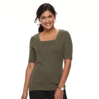 Croft & Barrow Women's Squareneck Elbow Sleeve Tee