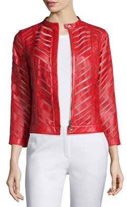 Escada Zip-Front Laser-Cut Leather Jacket, Cherry $2,850 thestylecure.com