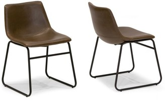 Glamour Home Set of 2 Adan Iron Frame Dark Brown Faux Leather Dining Chair
