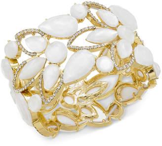 INC International Concepts Inc Gold-Tone Stone & Crystal Openwork Stretch Bracelet