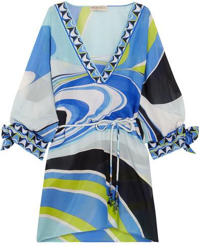 Emilio Pucci - Libellula Printed Cotton And Silk-blend Kaftan - Blue