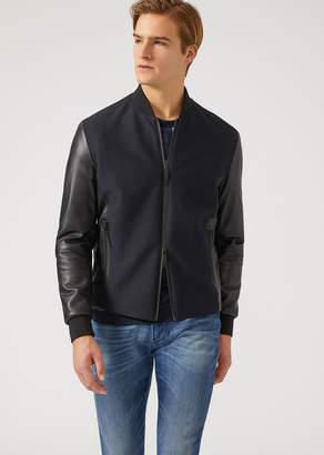 Emporio Armani Jacket In Leather And Textured Technical Fabric