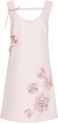 Prada Embroidered Crepe Cady Shift Dress Size: 46