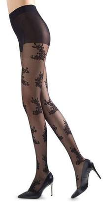 Natori Feathers Sheer Floral-Pattern Control Top Tights