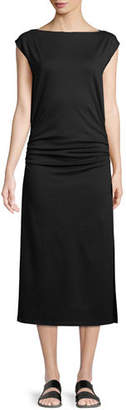 Theory Minimal Ruched Cap-Sleeve Sheath Dress